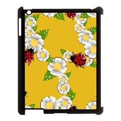 Flower Floral Sunflower Butterfly Red Yellow White Green Leaf Apple Ipad 3/4 Case (black) by Mariart