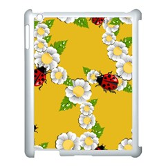 Flower Floral Sunflower Butterfly Red Yellow White Green Leaf Apple Ipad 3/4 Case (white) by Mariart