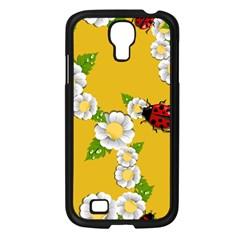Flower Floral Sunflower Butterfly Red Yellow White Green Leaf Samsung Galaxy S4 I9500/ I9505 Case (black) by Mariart