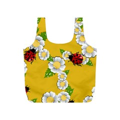 Flower Floral Sunflower Butterfly Red Yellow White Green Leaf Full Print Recycle Bags (s)  by Mariart