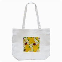 Flower Floral Sunflower Butterfly Red Yellow White Green Leaf Tote Bag (white) by Mariart