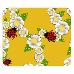 Flower Floral Sunflower Butterfly Red Yellow White Green Leaf Double Sided Flano Blanket (small)  by Mariart