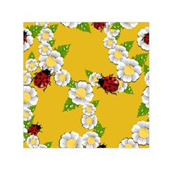 Flower Floral Sunflower Butterfly Red Yellow White Green Leaf Small Satin Scarf (square) by Mariart