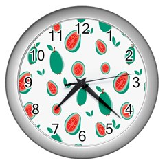 Fruit Green Red Guavas Leaf Wall Clocks (silver)  by Mariart