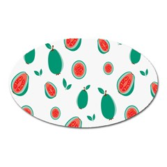 Fruit Green Red Guavas Leaf Oval Magnet by Mariart