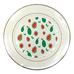 Fruit Green Red Guavas Leaf Porcelain Plates by Mariart