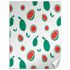 Fruit Green Red Guavas Leaf Canvas 36  X 48   by Mariart