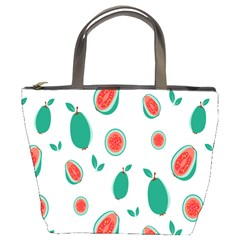 Fruit Green Red Guavas Leaf Bucket Bags by Mariart