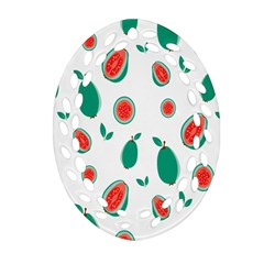 Fruit Green Red Guavas Leaf Ornament (oval Filigree) by Mariart