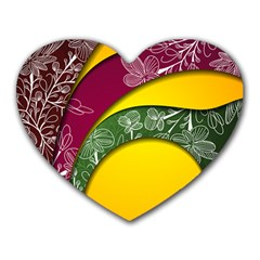 Flower Floral Leaf Star Sunflower Green Red Yellow Brown Sexxy Heart Mousepads by Mariart