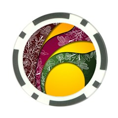 Flower Floral Leaf Star Sunflower Green Red Yellow Brown Sexxy Poker Chip Card Guard by Mariart