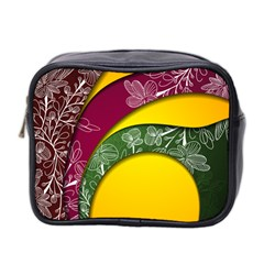 Flower Floral Leaf Star Sunflower Green Red Yellow Brown Sexxy Mini Toiletries Bag 2 Side by Mariart