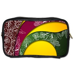 Flower Floral Leaf Star Sunflower Green Red Yellow Brown Sexxy Toiletries Bags 2 Side by Mariart