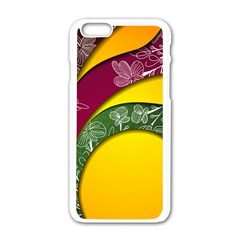 Flower Floral Leaf Star Sunflower Green Red Yellow Brown Sexxy Apple Iphone 6/6s White Enamel Case by Mariart