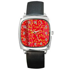 Fruit Seed Strawberries Red Yellow Frees Square Metal Watch by Mariart