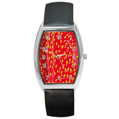 Fruit Seed Strawberries Red Yellow Frees Barrel Style Metal Watch by Mariart