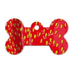 Fruit Seed Strawberries Red Yellow Frees Dog Tag Bone (one Side) by Mariart