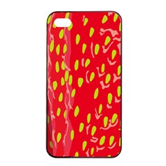 Fruit Seed Strawberries Red Yellow Frees Apple Iphone 4/4s Seamless Case (black) by Mariart