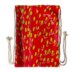 Fruit Seed Strawberries Red Yellow Frees Drawstring Bag (large) by Mariart