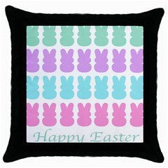 Happy Easter Rabbit Color Green Purple Blue Pink Throw Pillow Case (black) by Mariart