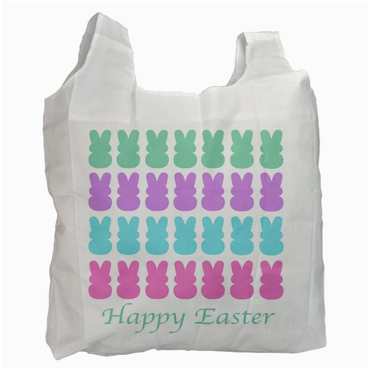 Happy Easter Rabbit Color Green Purple Blue Pink Recycle Bag (One Side)