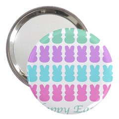 Happy Easter Rabbit Color Green Purple Blue Pink 3  Handbag Mirrors by Mariart