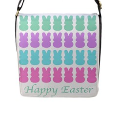 Happy Easter Rabbit Color Green Purple Blue Pink Flap Messenger Bag (l)  by Mariart