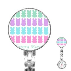 Happy Easter Rabbit Color Green Purple Blue Pink Stainless Steel Nurses Watch by Mariart