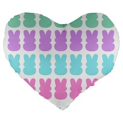 Happy Easter Rabbit Color Green Purple Blue Pink Large 19  Premium Flano Heart Shape Cushions by Mariart