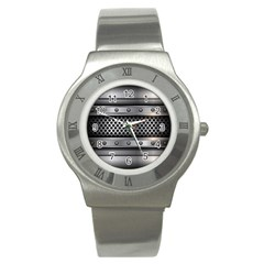 Iron Content Hole Mix Polka Dot Circle Silver Stainless Steel Watch by Mariart