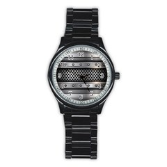Iron Content Hole Mix Polka Dot Circle Silver Stainless Steel Round Watch by Mariart