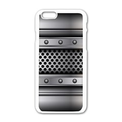 Iron Content Hole Mix Polka Dot Circle Silver Apple Iphone 6/6s White Enamel Case by Mariart