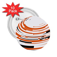 Hole Black Orange Arrow 2 25  Buttons (10 Pack)  by Mariart