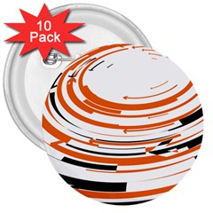Hole Black Orange Arrow 3  Buttons (10 Pack)  by Mariart
