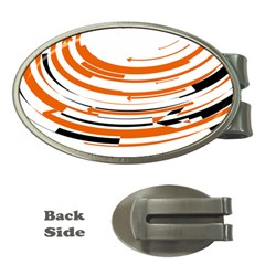 Hole Black Orange Arrow Money Clips (oval)  by Mariart