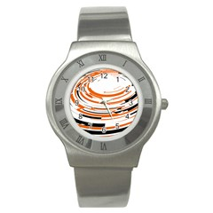 Hole Black Orange Arrow Stainless Steel Watch by Mariart