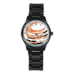 Hole Black Orange Arrow Stainless Steel Round Watch by Mariart