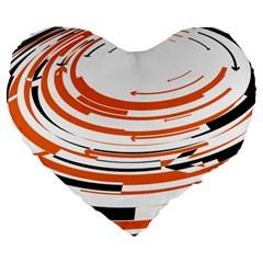 Hole Black Orange Arrow Large 19  Premium Flano Heart Shape Cushions by Mariart