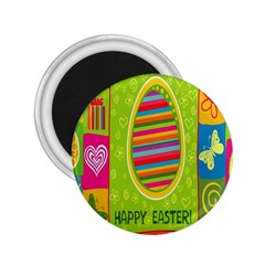 Happy Easter Butterfly Love Flower Floral Color Rainbow 2 25  Magnets by Mariart