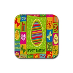 Happy Easter Butterfly Love Flower Floral Color Rainbow Rubber Square Coaster (4 Pack)  by Mariart