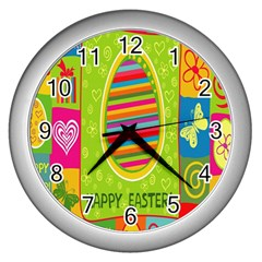 Happy Easter Butterfly Love Flower Floral Color Rainbow Wall Clocks (silver)  by Mariart