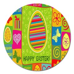 Happy Easter Butterfly Love Flower Floral Color Rainbow Magnet 5  (round) by Mariart