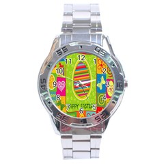 Happy Easter Butterfly Love Flower Floral Color Rainbow Stainless Steel Analogue Watch by Mariart