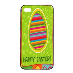Happy Easter Butterfly Love Flower Floral Color Rainbow Apple Iphone 4/4s Seamless Case (black) by Mariart