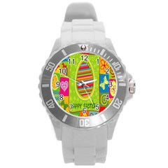 Happy Easter Butterfly Love Flower Floral Color Rainbow Round Plastic Sport Watch (l) by Mariart