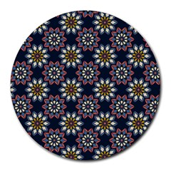 Floral Flower Star Blue Round Mousepads by Mariart