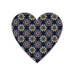 Floral Flower Star Blue Heart Magnet by Mariart