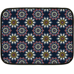 Floral Flower Star Blue Fleece Blanket (mini) by Mariart