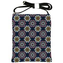 Floral Flower Star Blue Shoulder Sling Bags by Mariart
