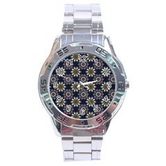 Floral Flower Star Blue Stainless Steel Analogue Watch by Mariart